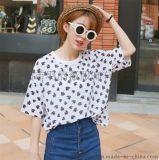 2015夏裝新款 韓版花朵寬鬆圓領套頭短袖雪紡衫 夏季女式雪紡衫