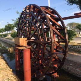 户外园艺用品造园假山流水喷泉防腐木水车流水摆件转运水车风水轮景观水车