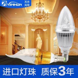 led蜡烛泡尖泡满天星灯泡led灯泡e14螺口拉尾蜡烛灯泡 厂家直销