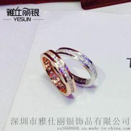 新款S925纯银经典爆版婚单排钻戒指男女通款无死角零缝系厂价批发