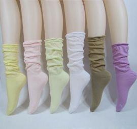 袜子女 纯棉堆堆袜 纯棉中筒袜