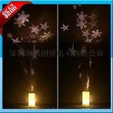 圣诞雪花雪人led蜡烛电池旋转投影灯