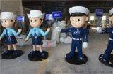 鸿城雕塑定制形态逼真交通警察雕塑 人物卡通玻璃钢雕塑厂家