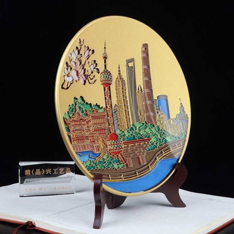 上海企业纪念品 开业水晶纪念礼品摆件 上海精兴