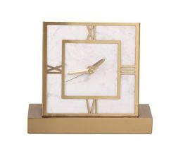 現代簡約正方形大理石金屬鹿頭鍾表擺件時鍾座鍾擺臺樣板間擺件