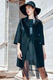 一线欧美潮牌双面羊绒大衣品牌折扣服装女装尾货剪标