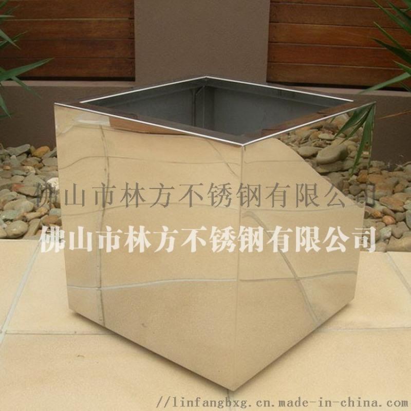 厂家定制不锈钢花钵 酒店玫瑰金装饰花盆