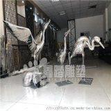 抽象镜面鹤不锈钢雕塑 仙鹤展翅翱翔