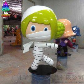 万圣节节日庆典摆件蒙面白菜小女孩卡通造型玻璃钢创意雕塑工艺品