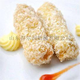 阜阳玉米卷裹浆机 玉米酥上糠机图 玉米酥裹雪花片机