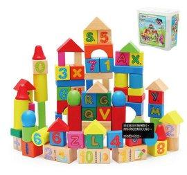 巧之木100粒数字字母积木木制儿童玩具益智桶装智力启蒙木质积木