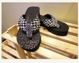 黑白马毛女鞋**欧美款水钻十字架EVA底台西部牛仔风格 拖鞋