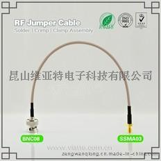 BNC08-SSMA03BNC(Plug)  公针 to SSMA(Jack)母头母针直式铆压接RG316_RG174同轴电缆/50Ω