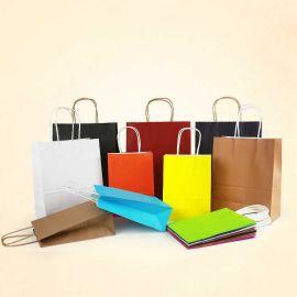 厂家直销手提纸袋 彩色牛皮纸袋 环保服装手提袋