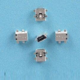 厂家直销MINI USB 5P沉板式前插后贴母座连接器