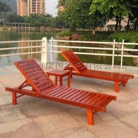 康图家具厂大量批发KH-A002沙滩椅户外实木沙滩椅