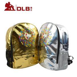 供應繽紛鳥金銀色PU料雙肩揹包中小學校外培訓機構書包揹包手提袋
