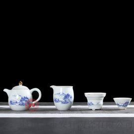描金茶具套装礼品 景德镇青花山水茶具