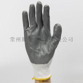 白紗丁腈帶膠手套乳膠浸漬半掛膠手套勞保工作機械工  防滑包郵