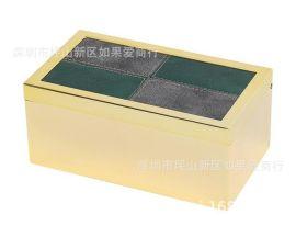 不锈钢金属金色长方形绿皮革质首饰收纳盒样板间软装摆件欧式摆台