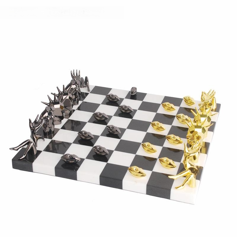 國際象棋高端裝飾擺件裝飾實木大理石棋盤歐式樣板間擺件別墅擺臺