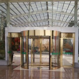 滨州菇仙生态园两翼不锈钢钛金色自动旋转门