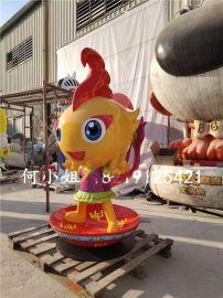 畲族民族特色吉祥物雕塑模拟摇锅造型卡通人物雕塑