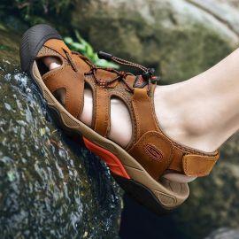 沙灘鞋防滑休閒運動戶外登山溯溪鞋磨砂包頭徒步涼鞋