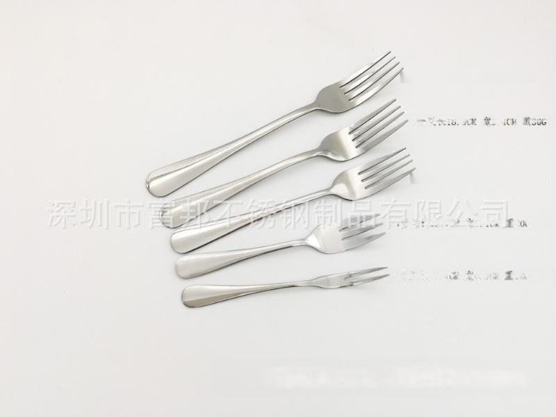廠價直銷高檔不鏽鋼光柄勺叉餐勺餐叉兒童勺叉水果叉可鐳射打標