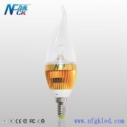 南方高科照明LED蜡烛灯3W 金色蜡尾 LED大功率 LED床头灯 LED吊灯质保三年
