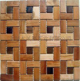 木风寨实木马赛克MFZ-A015背景墙 黑胡桃/缅茄木 墙贴