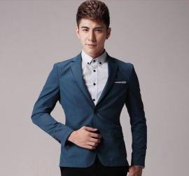 厂家定做2016新款男士休闲小西服 两粒扣修身潮男装西装外套