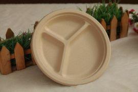 9寸三格圆盘 P012一次性纸盘,餐具, 环保餐具, 可降解餐具