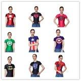 厂家直销 复仇者联盟紧身衣短袖女 超级英雄瑜伽健身速干运动T恤