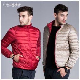 供应轻薄双面穿羽绒服男士立领短款  两面学生夹克春秋冬装外套