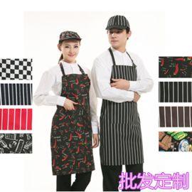 条纹工作服围裙水果店服务员围裙餐厅奶茶咖啡店卖场厨师挂脖围裙