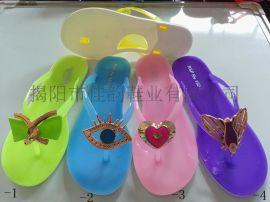揭阳鞋厂女款水晶pvc双色底糖果色系滴油拖鞋