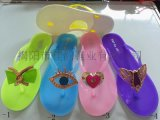 揭陽鞋廠女款水晶pvc雙色底糖果色系滴油拖鞋