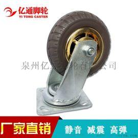 亿通脚轮橡胶轮6寸静音脚轮高弹重型脚轮4寸5寸8寸实心平板车轮