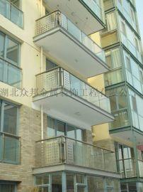 武汉咸宁地区不锈钢平面玻璃楼梯扶手