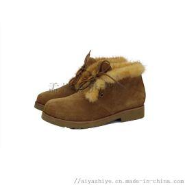 AIYA品牌高档绒面牛皮女鞋低筒马丁靴