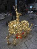 不鏽鋼鏤空發光漢字拼接鹿雕塑燈光效果點亮城市夜景