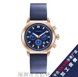真皮带不锈钢男士商务 男士商务 计时表商务手表