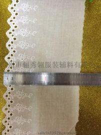 厂家生产纯棉刺绣花边,水溶棉条码花边