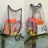 pvc透明塑料拉绳袋束口袋果冻水桶包防水儿童玩具小双肩包 广东