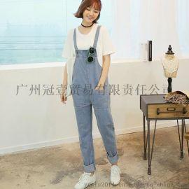 日韩学院风夏季新款 时尚水洗大口袋 休闲直筒裤宽松背带牛仔裤