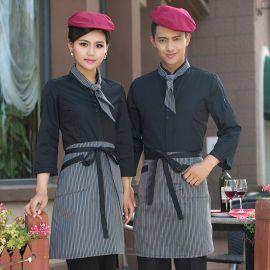 酒店工作服长袖咖啡厅料理店员工男式工服酒吧女服务员工装加LOGO
