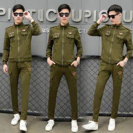 运动套装男2秋季新品两件套弹力棉旅游男外套长裤男式卫衣军绿