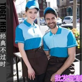 KFCT恤酒店餐厅制服男女款服务员春夏短袖翻领T恤工作服定制LOGO