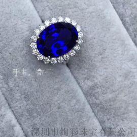 王妃款坦桑石戒指 18K金坦桑石戒指